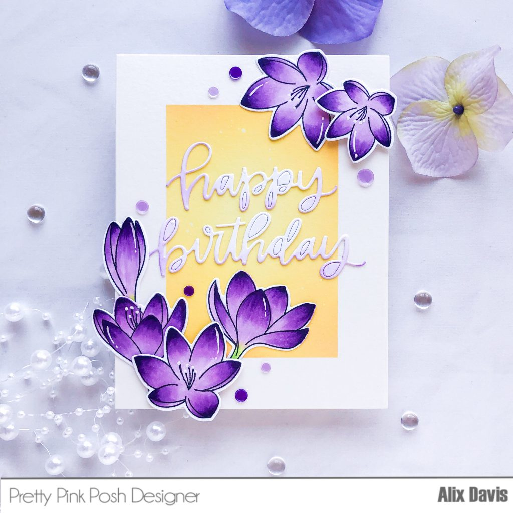 I Then Die Cut Happy Birthday With Pretty Pink Posh Script Out Of A Piece 100 Lbs White Card Stock Light Handed Ink Blended The